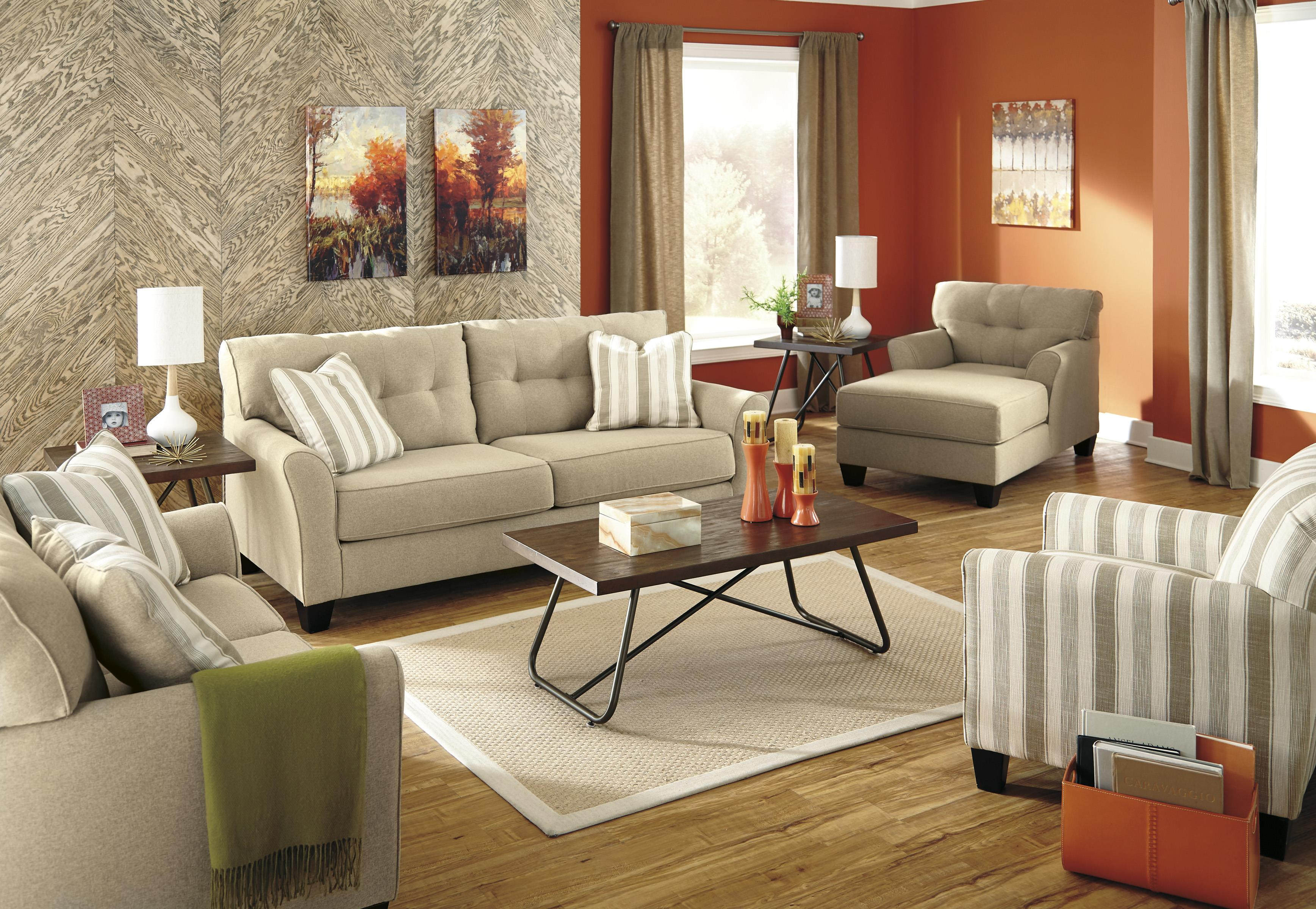 Benchcraft Laryn Contemporary Sofa in Khaki Fabric Wayside
