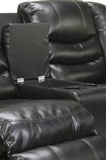 Double Reclining Loveseat Features a Console with Storage and Two Cup Holders