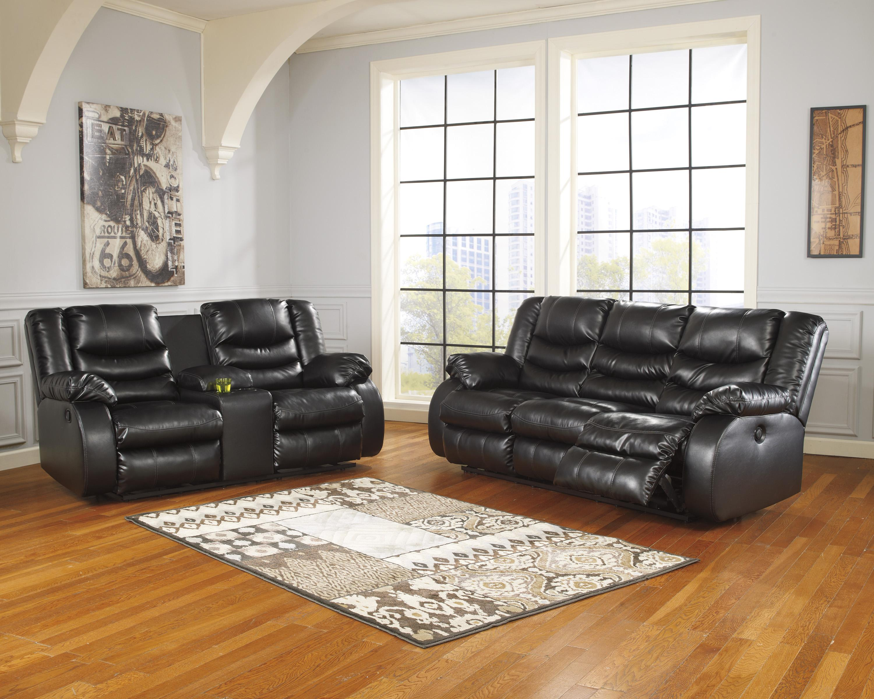benchcraft linebacker durablend black reclining sofa with pillow arms wayside furniture reclining sofa