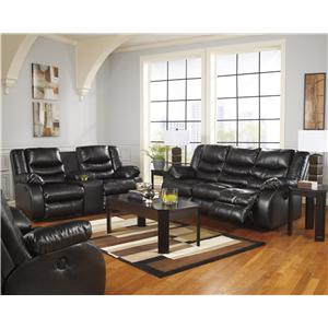 Benchcraft Linebacker DuraBlend - Black Contemporary Reclining Sofa with Pillow Arms