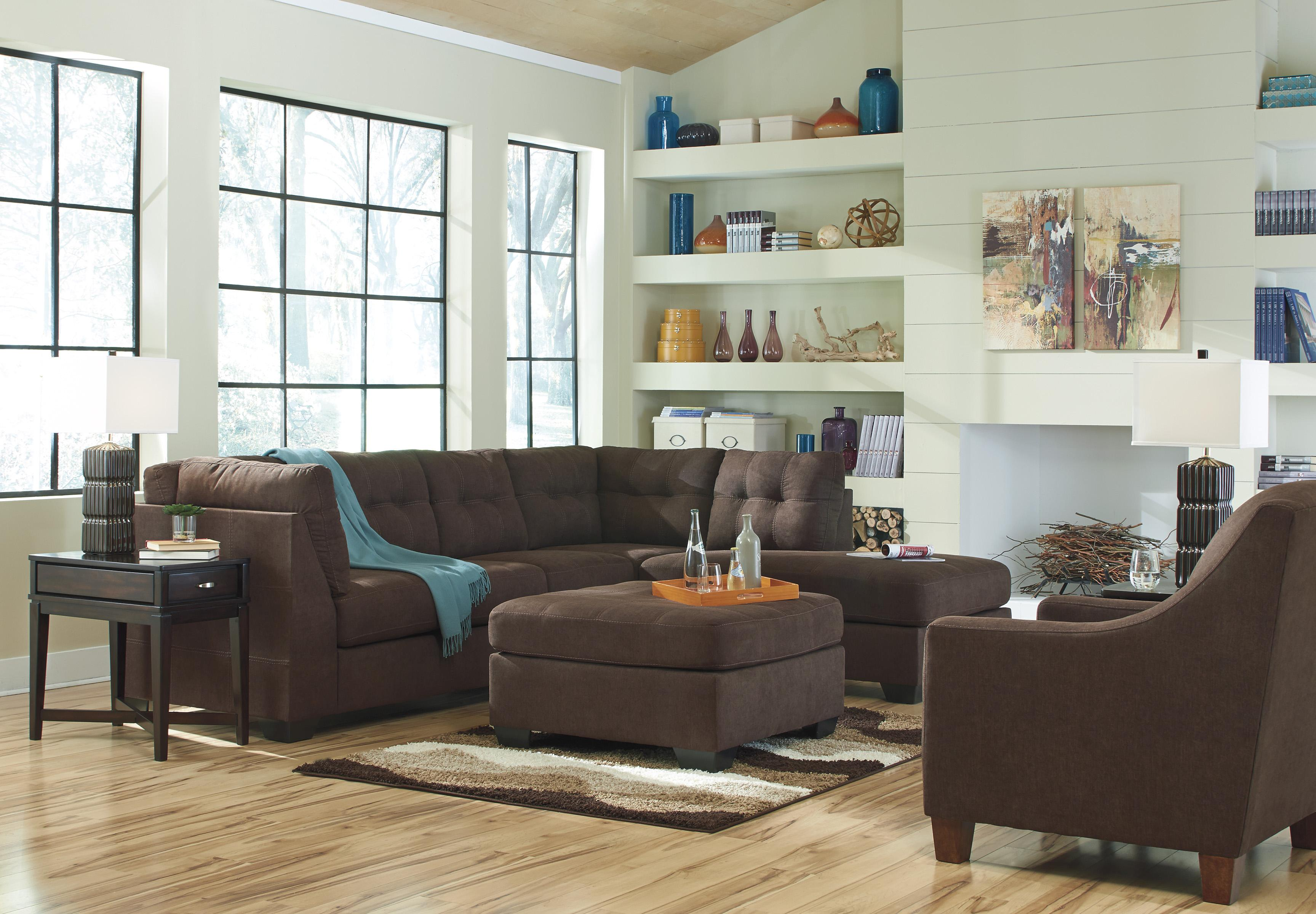Benchcraft Maier   Walnut 2 Piece Sectional W/ Sleeper Sofa U0026 Left Chaise    Wayside Furniture   Sectional Sofas Part 34