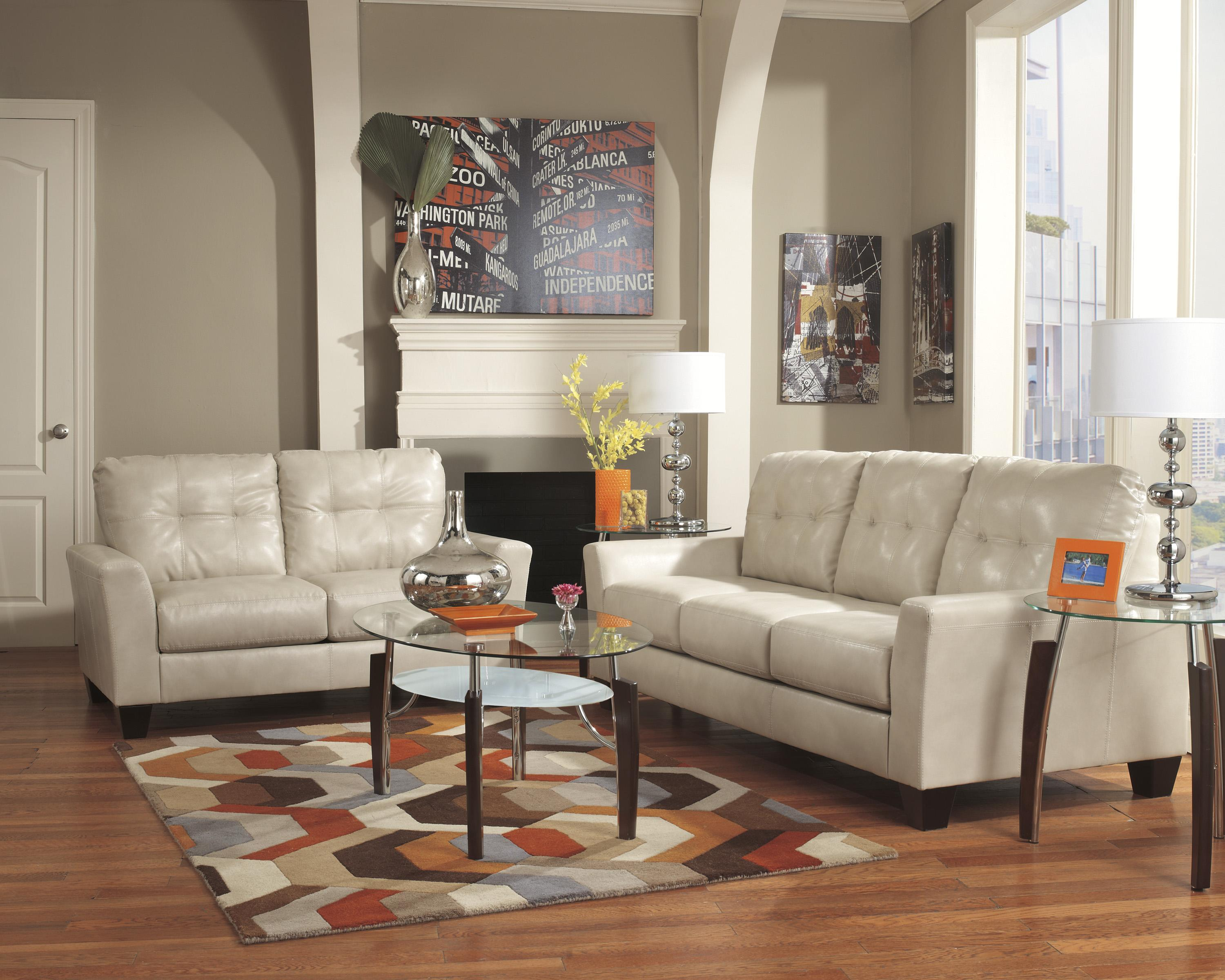 Ashley Furniture Paulie Living Room Set In Taupe Benchcraft Paulie DuraBlend® - Taupe Stationary Living Room Group ...