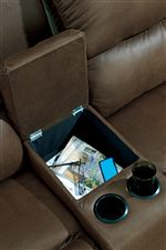 Loveseat Features Center Armrest with Storage and 2 Cup Holders