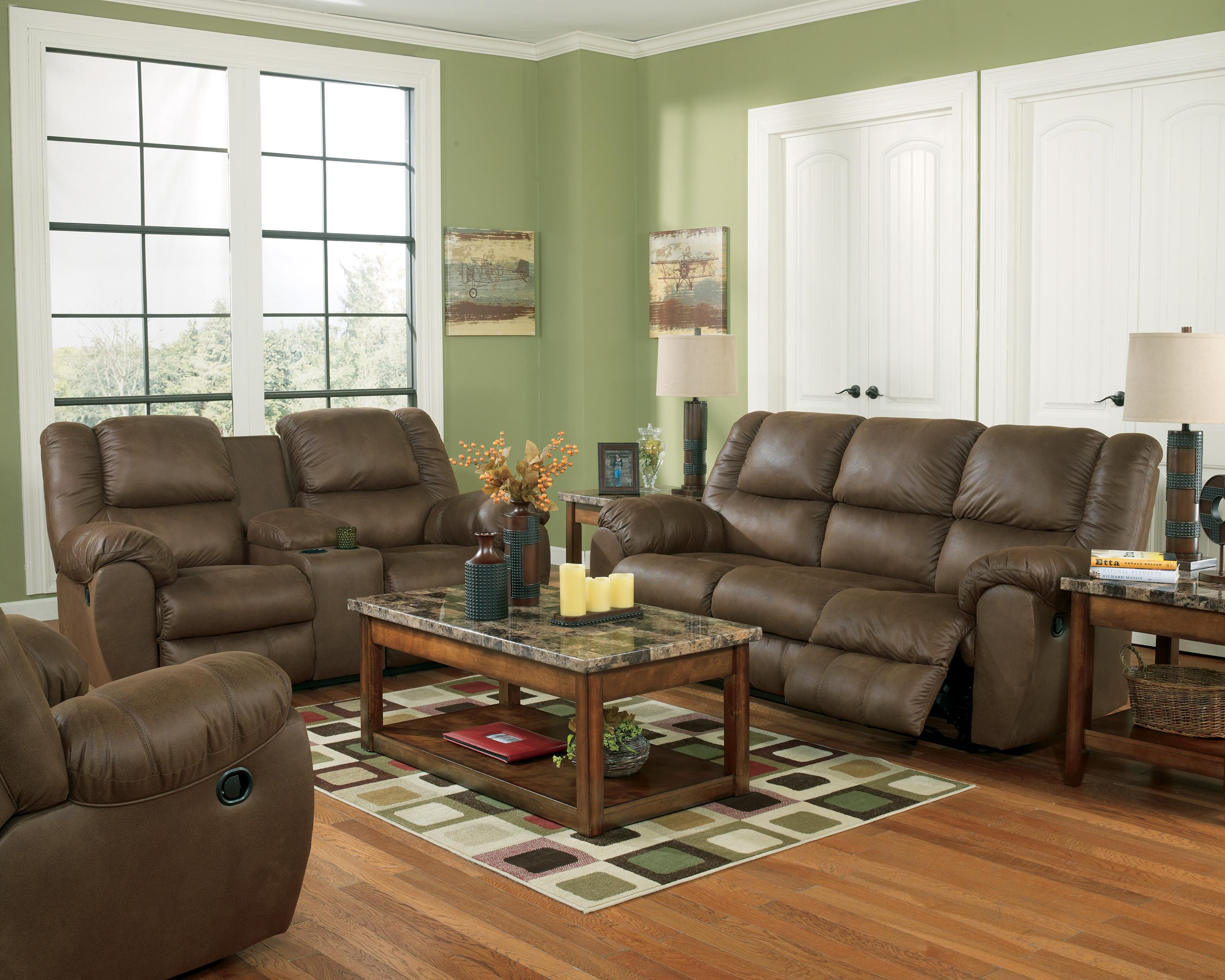benchcraft quarterback canyon reclining sofa in faux brown leather wayside furniture reclining sofa