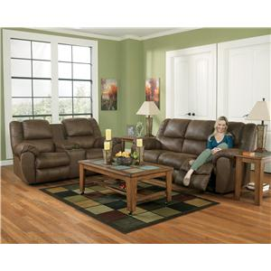Ashley Quarterback - Canyon Reclining Sofa in Faux Brown Leather