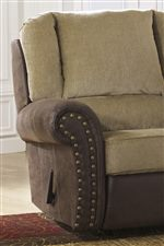 Coordinating Recliner with Nailhead Trim on Rolled Arms