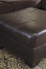 Faux Leather Accent Ottoman