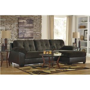 Benchcraft Vanleer 2-Piece Fabric/Faux Leather Sectional with Left Chaise