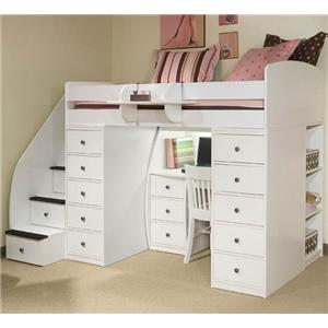 Berg Space Saver Twin Loft Bed with Desk & Two Chests