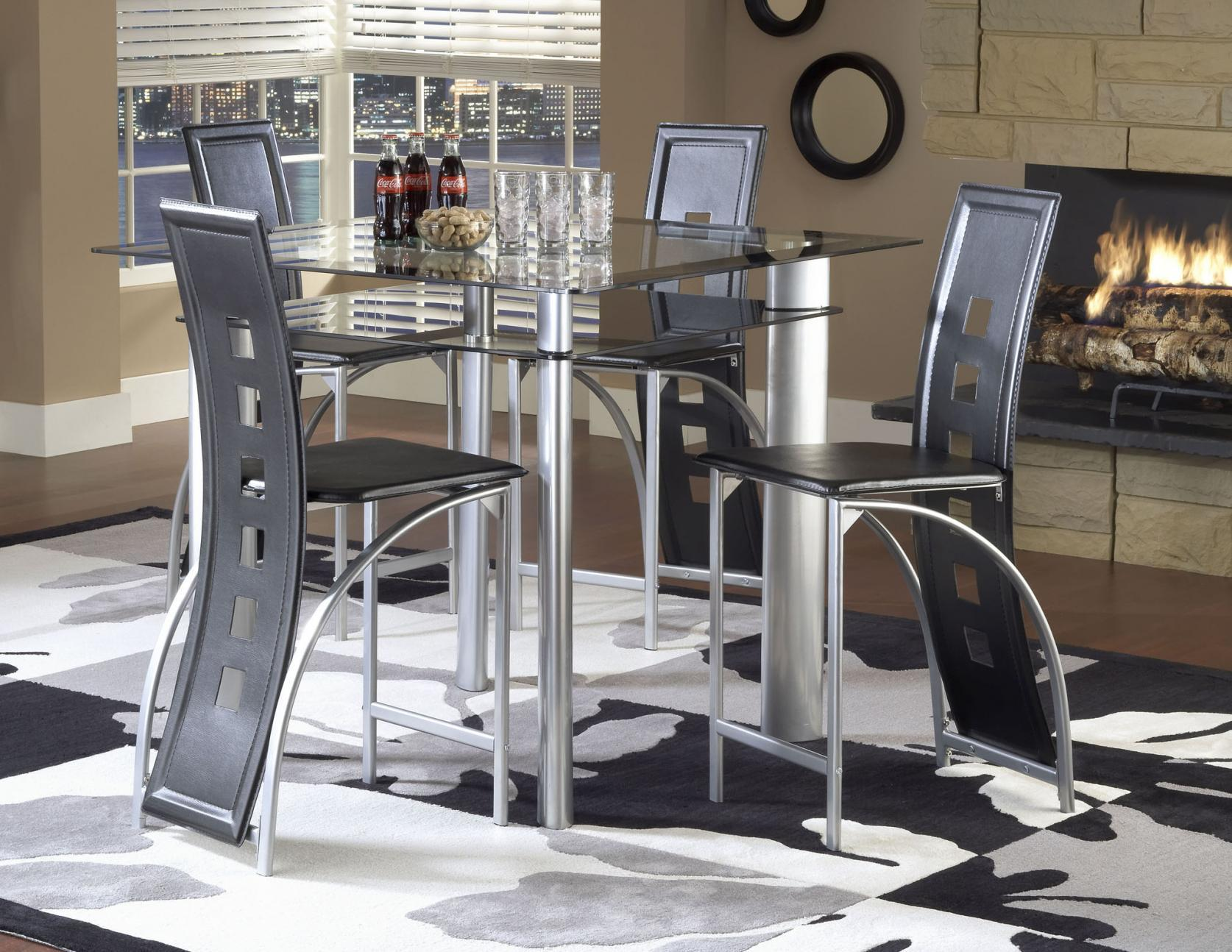 Bernards Astro Contemporary 5 Piece Smoked Glass Top Counter Height Dinette  Set With Black Vinyl Chairs | Wayside Furniture | Pub Table And Stool Sets