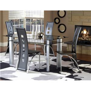 Bernards Astro Smoked Glass Top Dinette Table with Black/Satin Silver Finish