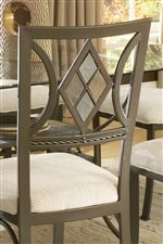 Metal Side Chair with Diamond Tile Backrest