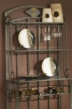 Bakers Rack with Bottle Storage and Hanging Glasses Storage
