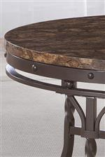 Faux Marble Top and Metal Base