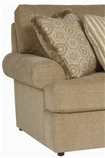 Rolled Arms, Plush Cushions and Coordinating Throw Pillows Add Comfort and Style