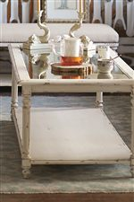 Select Tables Feature Inset Antique Mirror Glass Tops