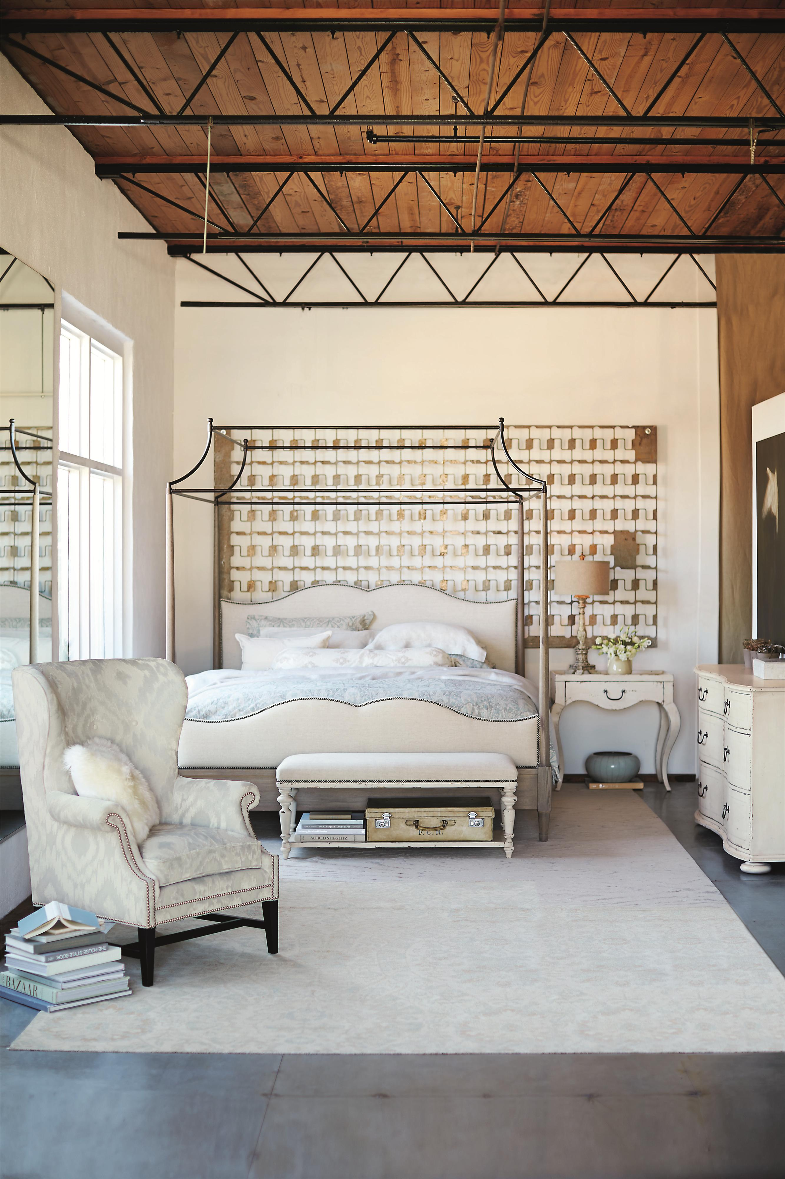 Bernhardt Auberge Queen Canopy Bed with Upholstered Headboard ...