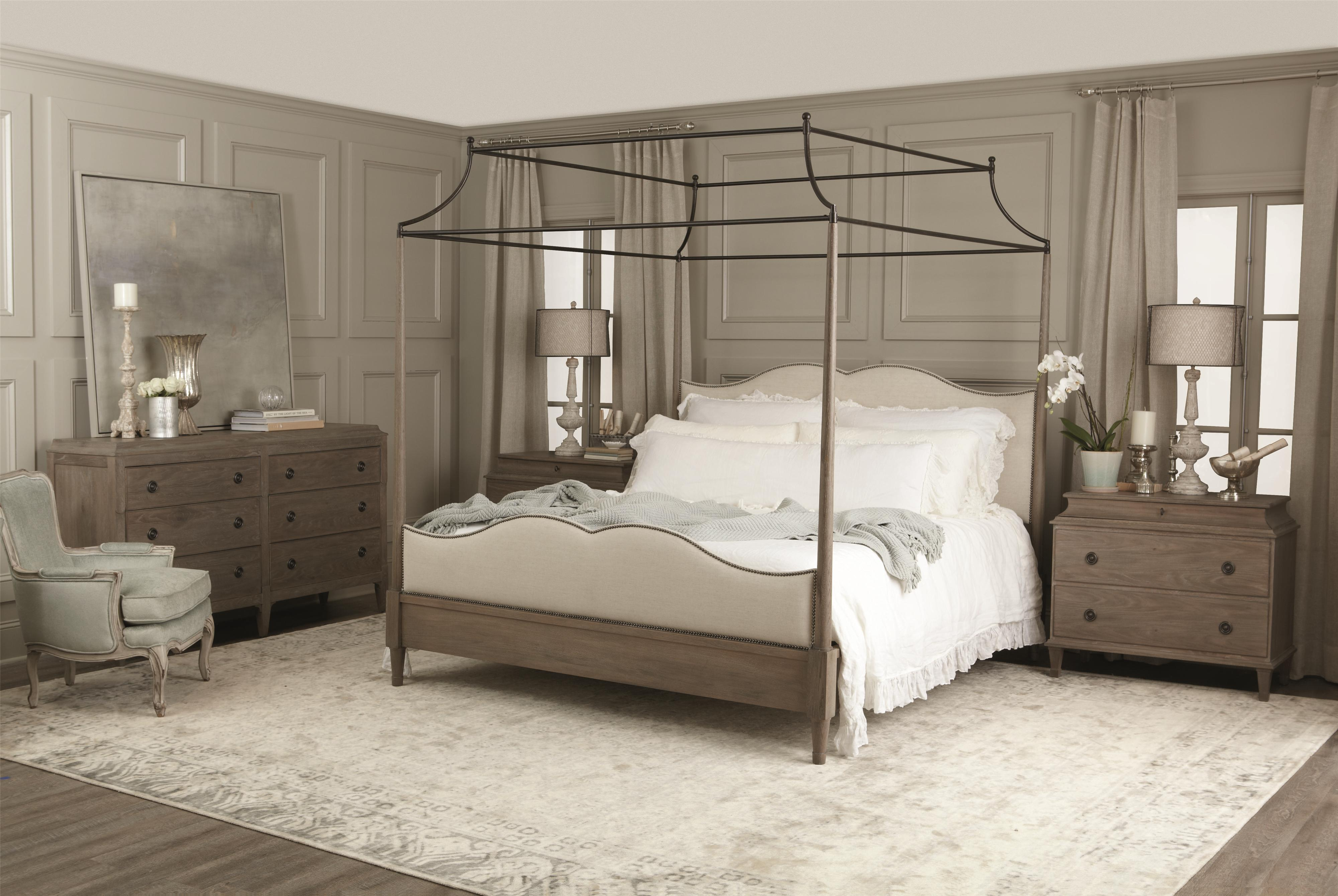 Bernhardt Auberge California King Canopy Bed with Upholstered