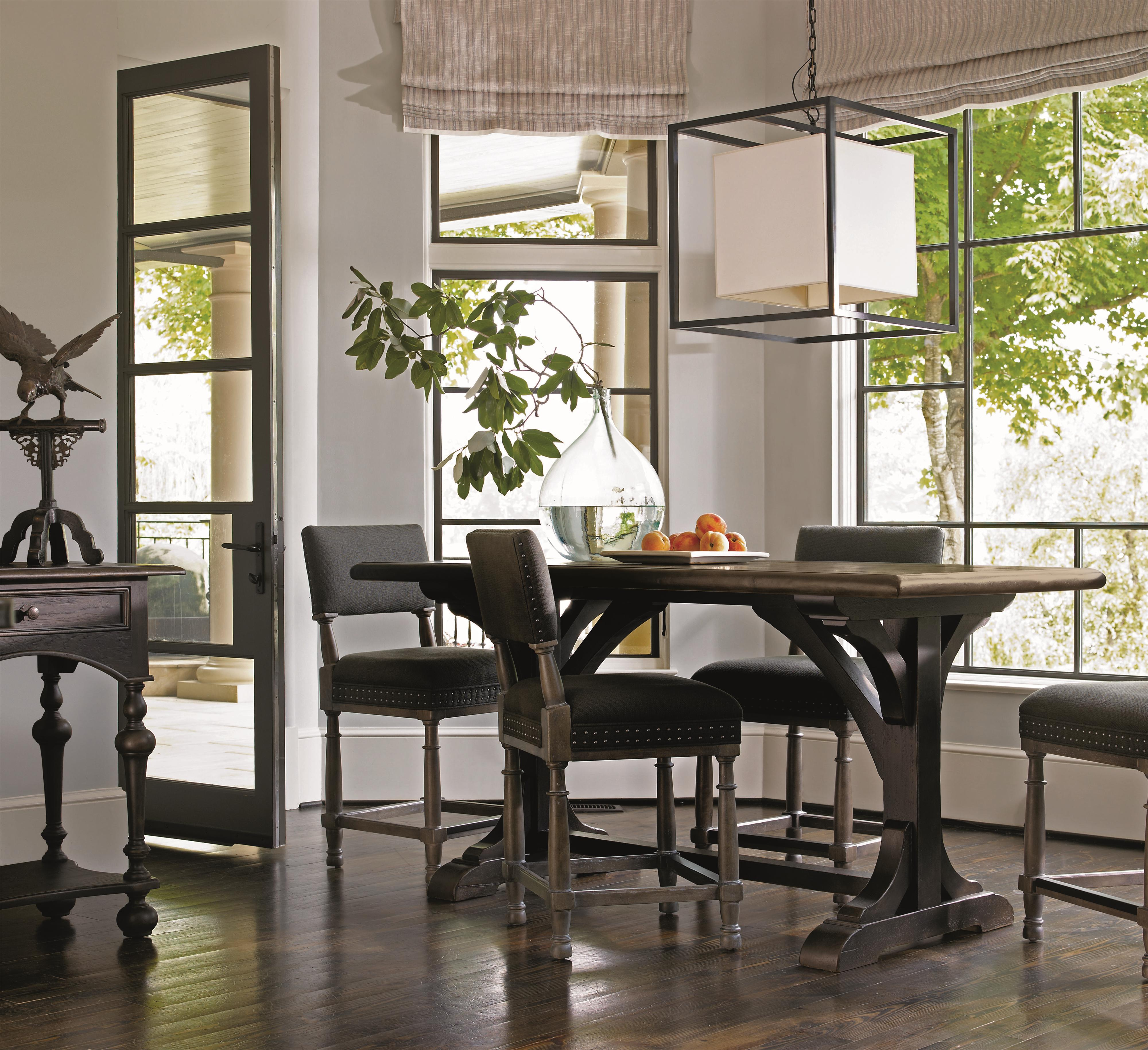 Bernhardt Belgian Oak Transitional Round Dining Table Made of