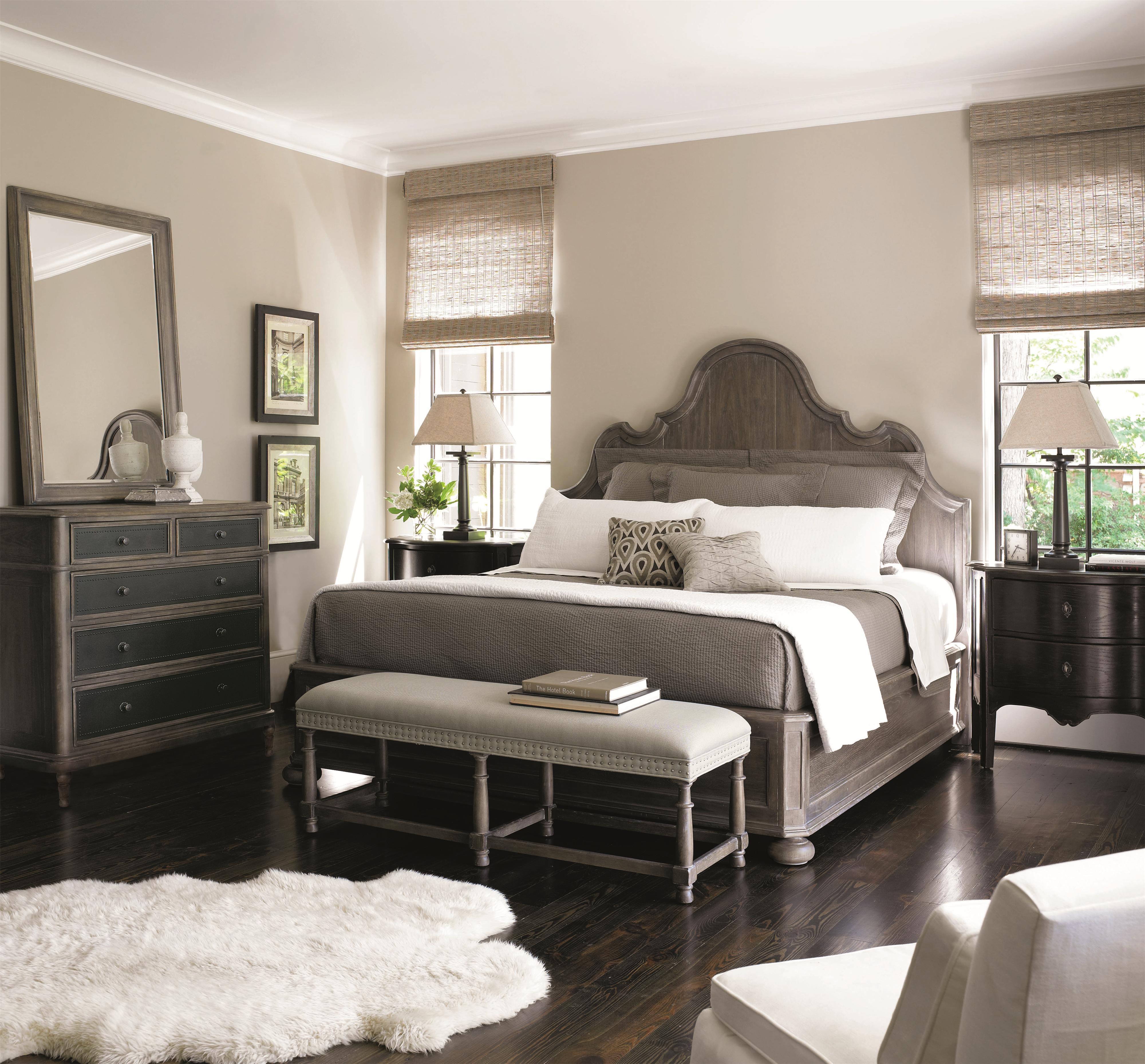 Bernhardt Belgian Oak Upholstered King Size Sleigh Bed with ...