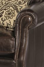 Rolled Arms with Pleats, Welt and Nail Head Trim Provide Timeless Accents for Living Room Furniture
