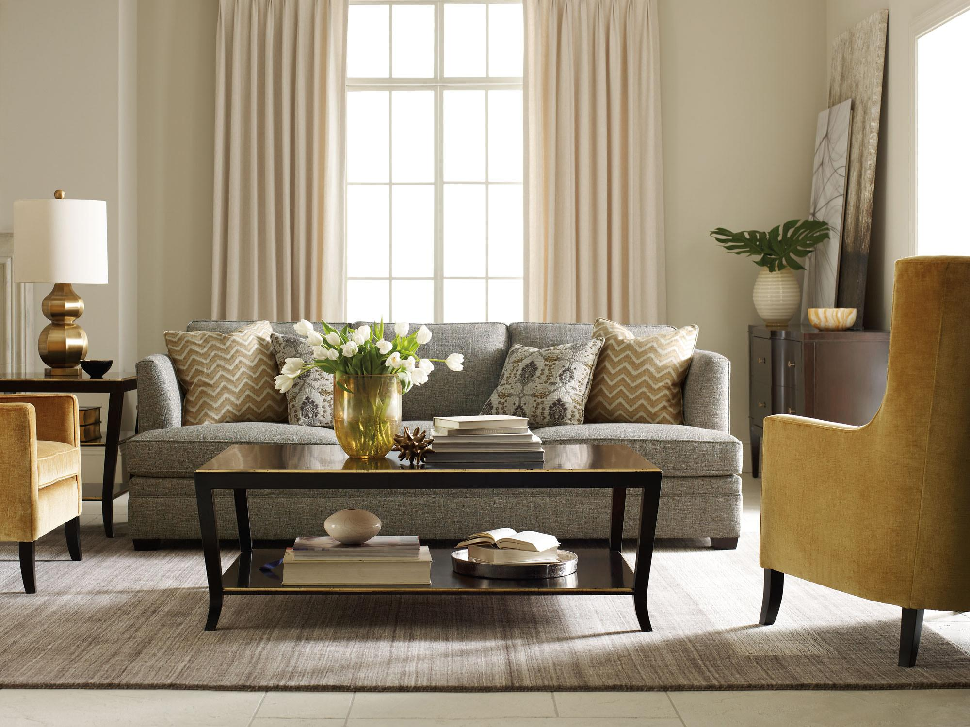 Bernhardt Conway Sofa with High Set Arms and Wood Legs Wayside