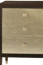 Drawer Fronts Shine in a Silver Leaf Finish