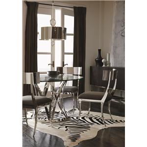 Bernhardt Interiors - Gustav Round Glass Top Dining Table with Polished Metal Base
