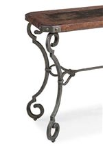 Hammered Iron Base with Curvy,Scrolled Legs.