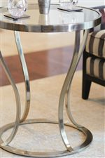 Tubular Plated Steel Table Bases in the Argento Finish Offer Rosy Champagne Tones