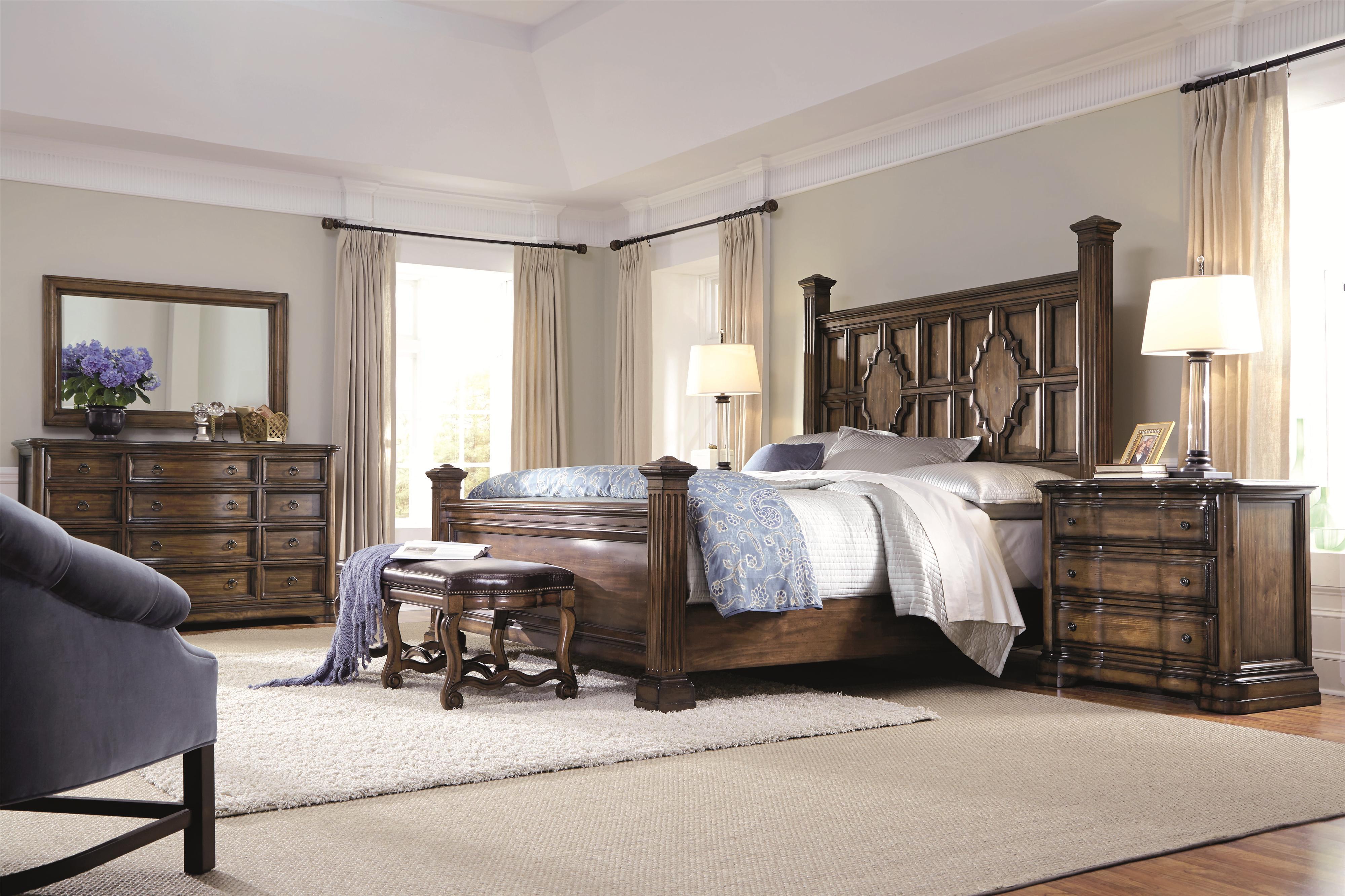 Bernhardt Montebella Queen Panel Bed with Sculpted Moldings ...