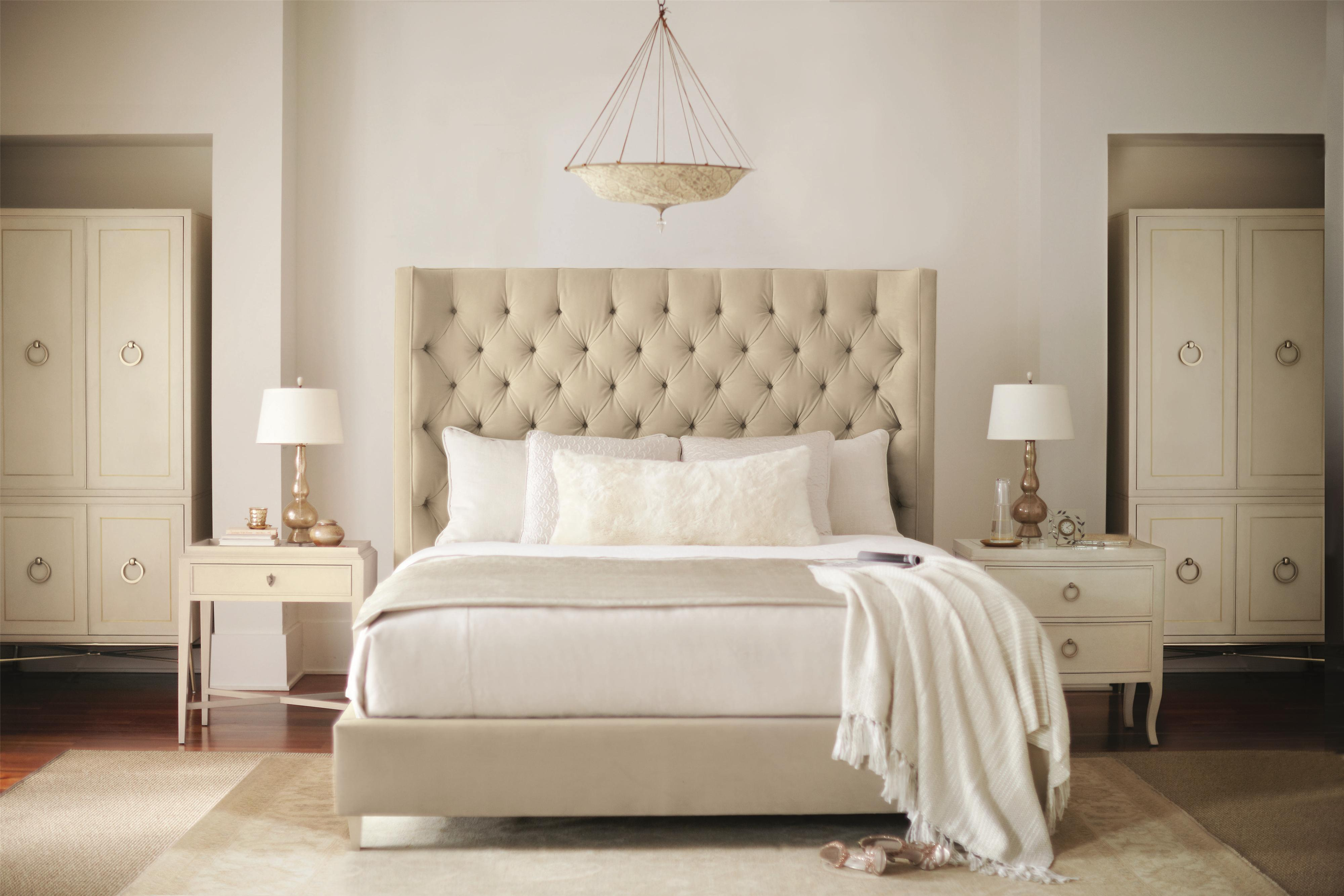 Bernhardt Salon King Upholstered Panel Bed with Diamond Tufting ...
