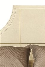 Inlaid Metal Patterns and Borders on Select Bed Headboards and Table Tops Give Pieces a Subtle Shine