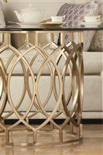 Select Tables Feature Artful Metal Bases with Geometric Shapes and Patterns