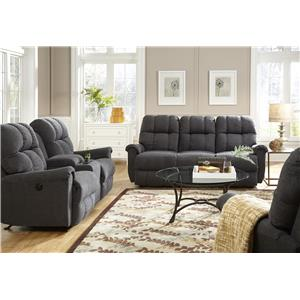 Best Home Furnishings Camryn BHF Casual Power Space Saver Reclining Loveseat with Storage Console