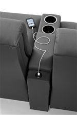 Power Loveseat Has Cupholders with Built-In USB Port for Charging Phones, Tablets, and Other Devices