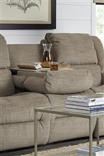 Sofa Includes Center Drop-Down Storage Unit with Tray Table, Cupholders, and Concealed Storage