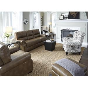 Morris Home Furnishings Lander Transitional Power High Leg Recliner with Nailhead Trim