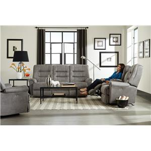Best Home Furnishings Langston Casual Power Space Saver Reclining Loveseat with Cupholder and Storage Console