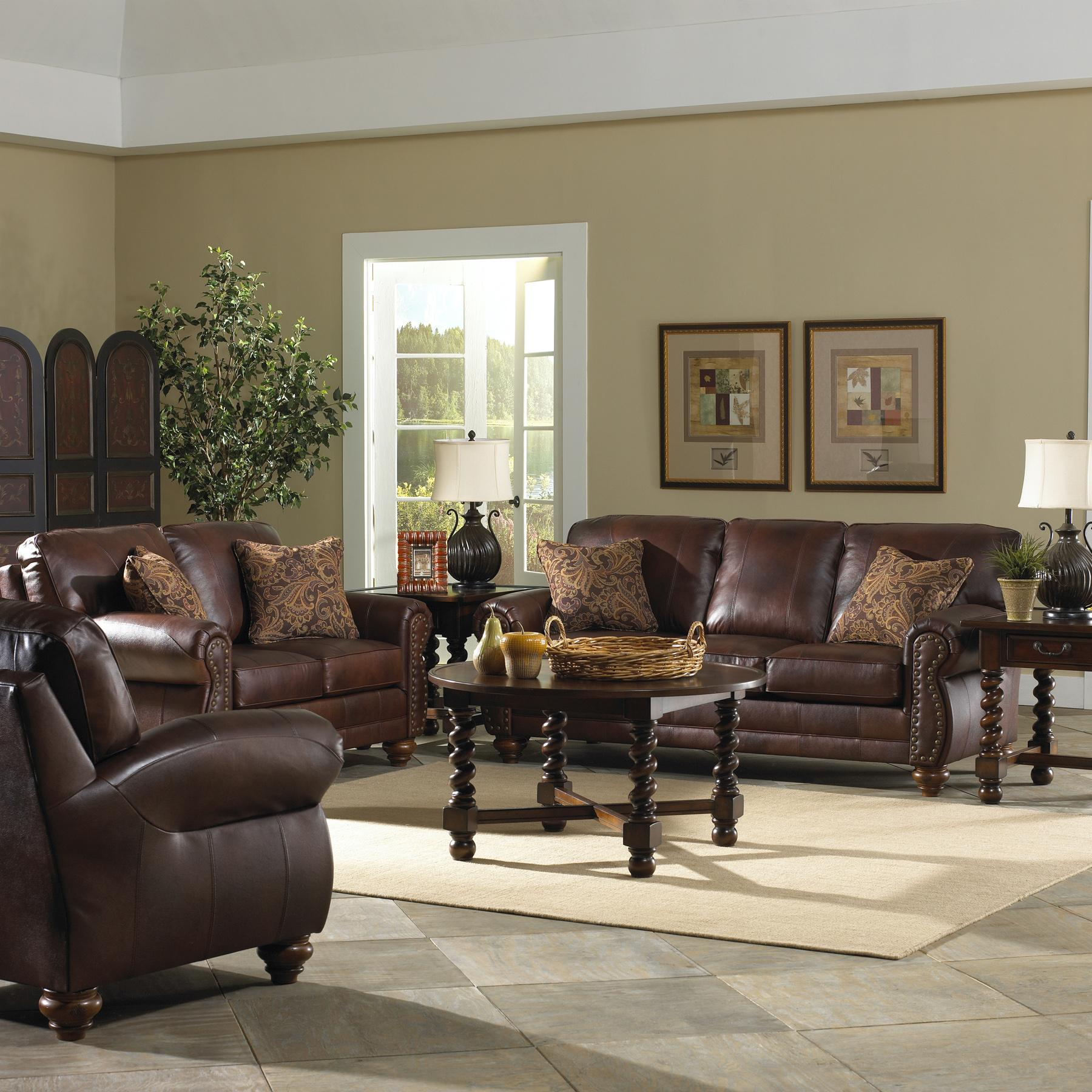 Best Home Furnishings Le Stationary Leather Sofa With Nailhead Trim By Sofas Lesville Carmel Avon Indianapolis Indiana