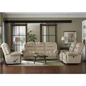 Best Home Furnishings Seger Casual Power Rocking Reclining Loveseat with Cupholder Console