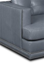 Square Track Arms and Boxed, T-Front Cushions, Both Trimmed with Nailhead Stud Accents