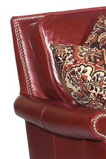Nail Head Trim Accents Leather Upholstery in Traditional Style