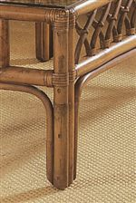 Gathered Rattan Block Legs