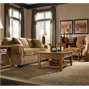 Broyhill Express Cambridge Quick Ship Transitional Upholstered Chair with Nail Head Trim