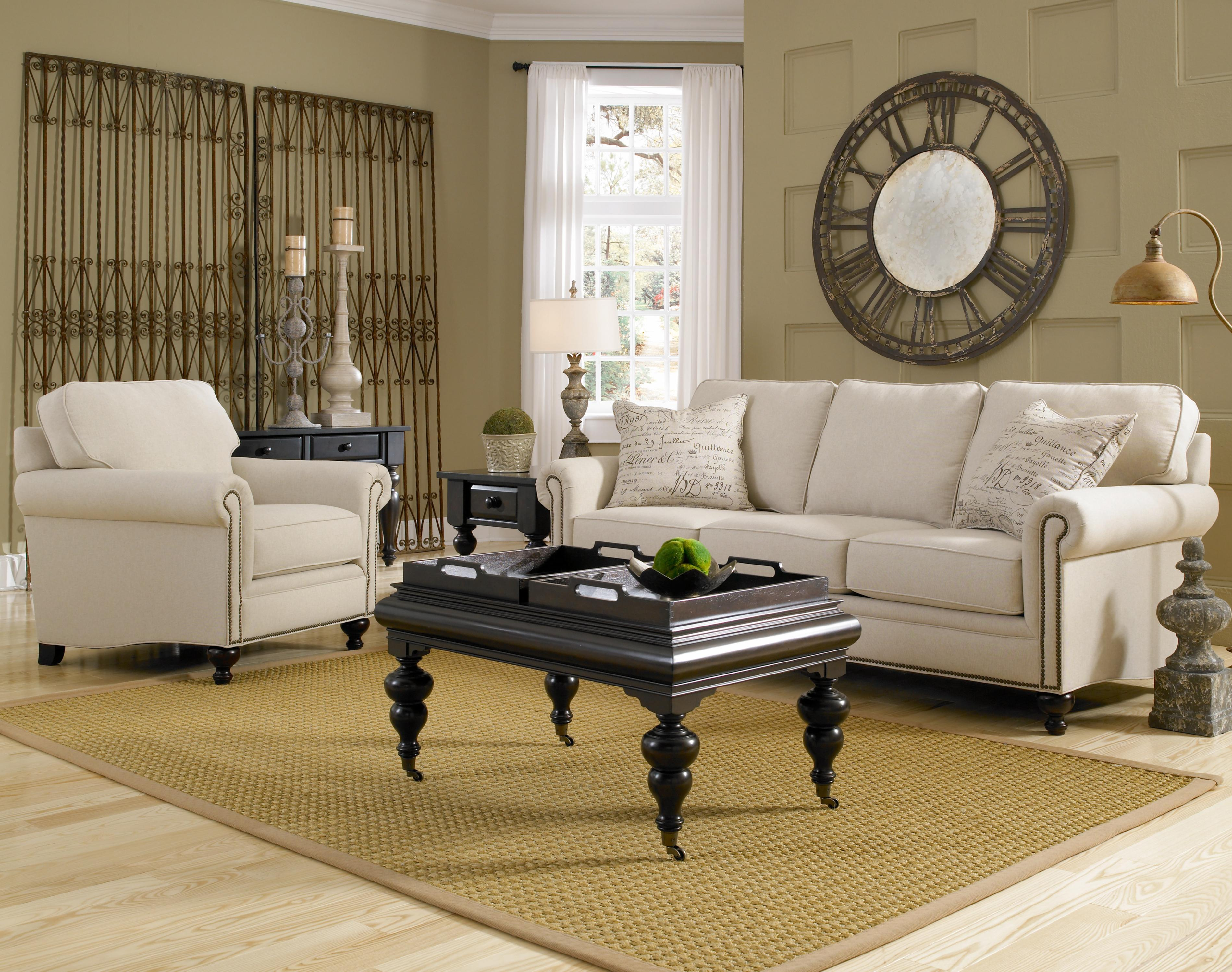 broyhill furniture harrison traditional style chair and ottoman