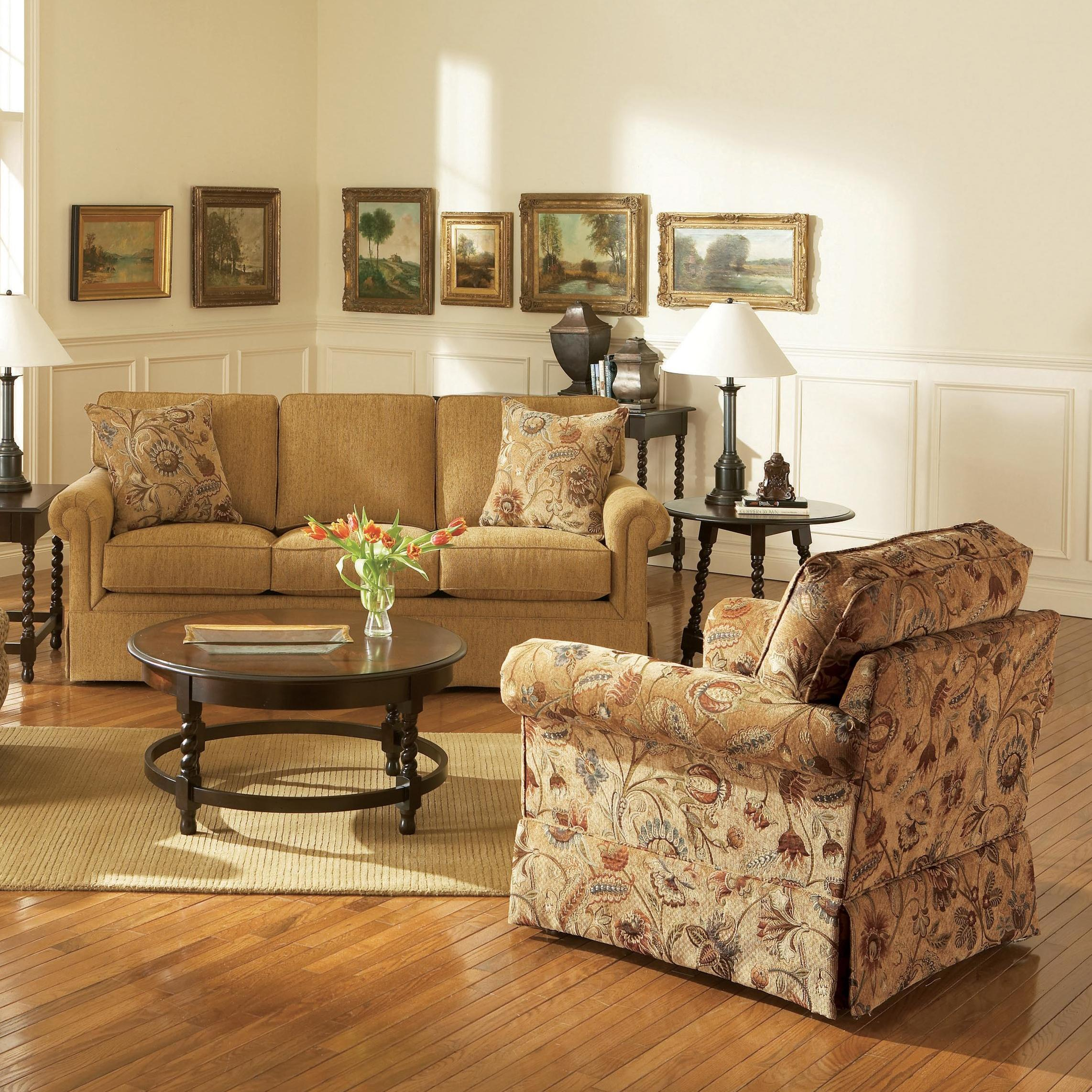 Broyhill Furniture Audrey Chair and Ottoman with Skirt - Wayside ...