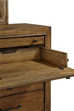 Drop Front Drawer with Wire Access Supports Media Setup
