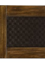 Select Table Tops Feature Inset Woven Leather Panels with a Glass Cover