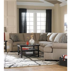 Broyhill Furniture Ethan Transitional Sectional Sofa with Left Facing Cuddler Chair